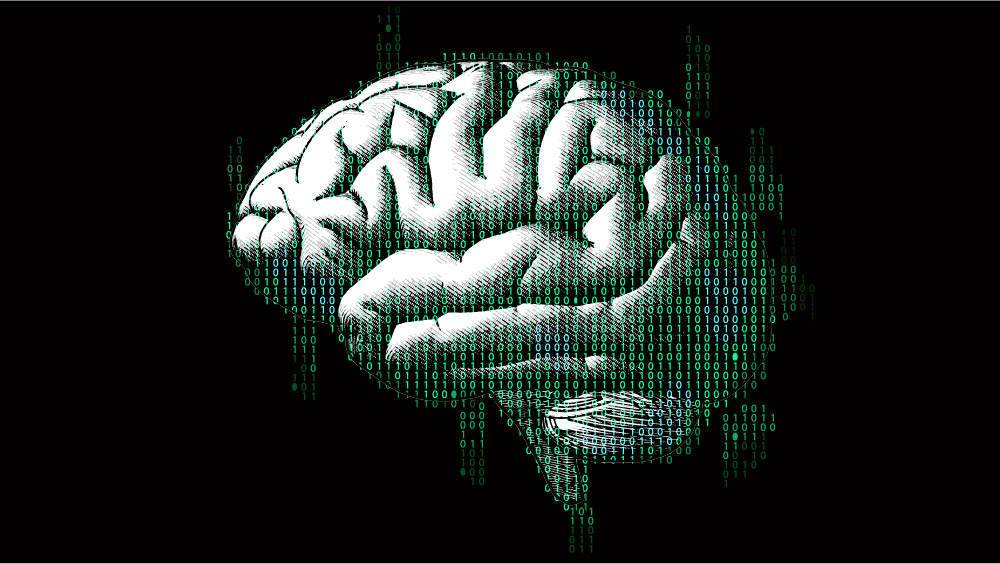 An illustration of a brain in profile overlaid with binary code