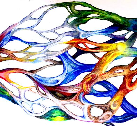 artistic painting representing brain blood vessels