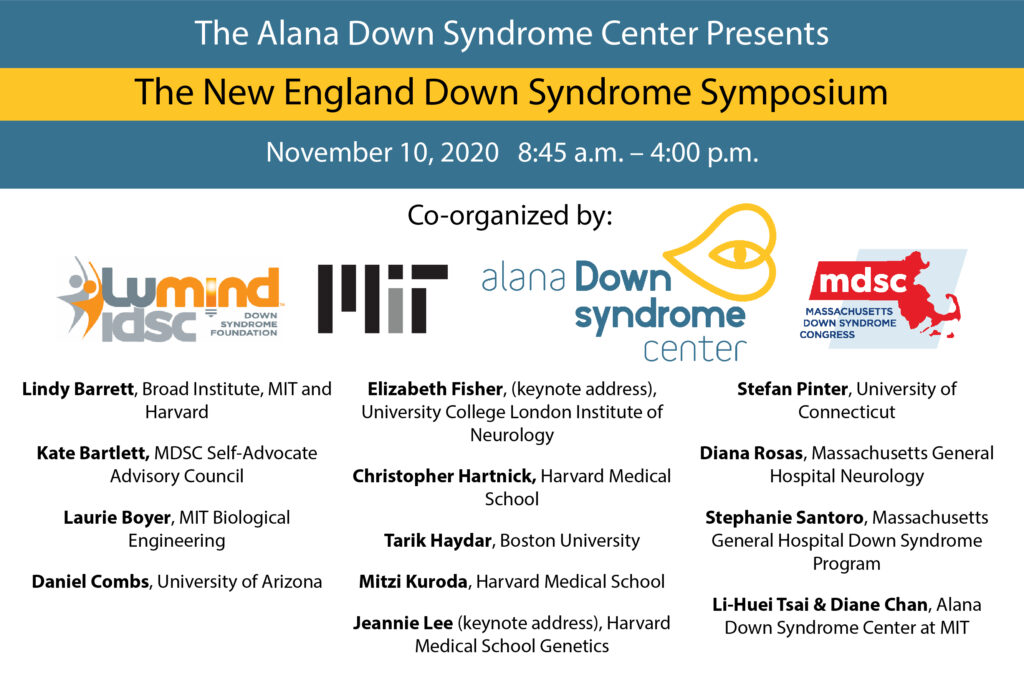 A poster for the New England Down Syndrome Symposium showing speaker names and logos of the organizers